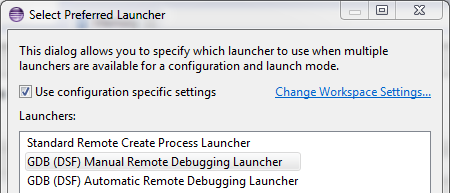 Figure 3: Select preferred launcher